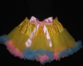 Ready to Ship Yellow Pettiskirt w/ Pale Blue and Pink Ruffles 18mos - FREE SHIPPING