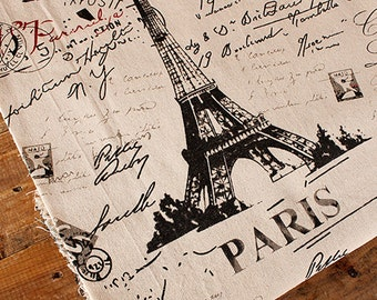 Eiffel tower fabric,french script fabric,cotton linen fabric,words print fabric,french letter drawing print vintage fabric,tablecloth fabric