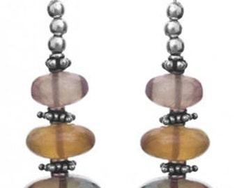 Fluorite Beaded Sterling Silver Earrings