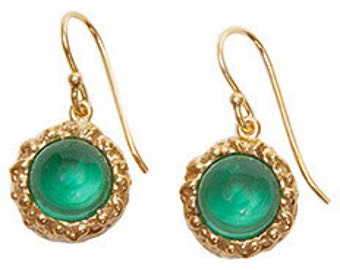 Emerald Quartz Gold Plated Earrings