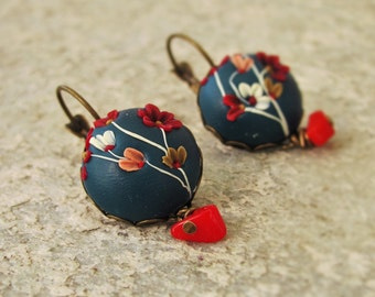 Vintage blue earrings with red coral and flowers, polymer clay earrings, flower earrings, spring earrings, present for her
