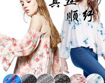 125-135CM Wide 8MM Print Thin Silk Fabric for Summer Long and Short Dress Shirt 6 Patterns E078