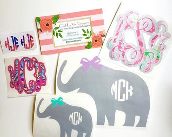Monogram Elephant Decal