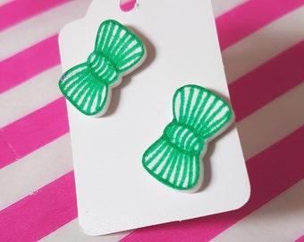 Bow Stud Earrings, Green