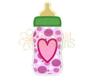 Baby Bottle Applique Machine Embroidery Design 080316 Baby Applique 4X4 5X7 8X8 6X10 Instant download