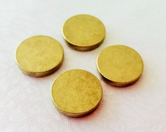 12 Gauge - 10 Pcs Raw Brass 12 mm Round Stamping Blank Disc ( No Hole -Thickness Of 2 mm ) 12 Gauge