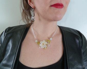 Necklace - white, yellow - aluminium SHAMBALLMOI