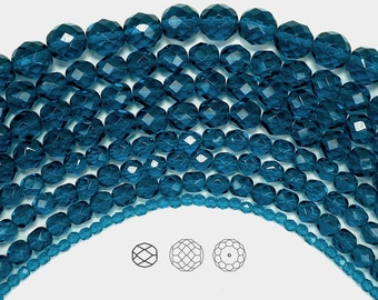 8mm (51pcs) Dark Aqua, Czech Fire Polished Round Faceted Glass Beads, 16 inch strand