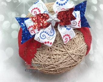 Fourth of July Headband, Red White and Blue Headband,  Fourth of July Bow, Patriotic Bow, Flag Bow, July 4th Hair Bow, Patriotic Hair Bow
