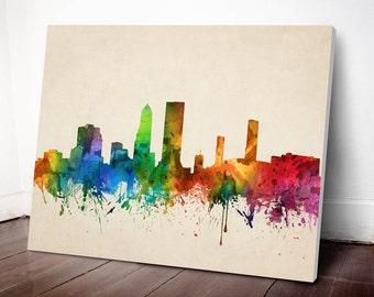 Jacksonville Skyline Canvas Print, Jacksonville Cityscape, Jacksonville Art Print, Home Decor, Gift Idea, USFLJA05C
