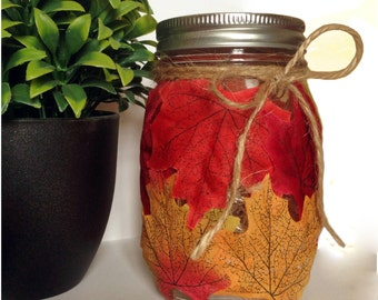 Autumn themed fairies in a jar