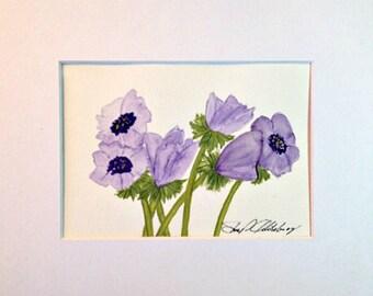 Blue Anemone, Original, 8x10 Mat, Frame Ready