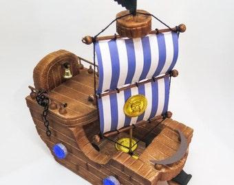 Blue Pirate Ship Cake Topper, Pirate ship centerpiece