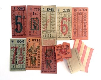 The vibrant Orange set (O11): vintage ticket collection with 11 tickets. British Transport vintage tickets.