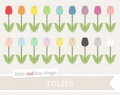 Tulip Clipart, Flower Clip Art, Spring Clipart, Garden Clipart, Easter Clipart, Icon Cute Digital Graphic Design Small Commercial Use
