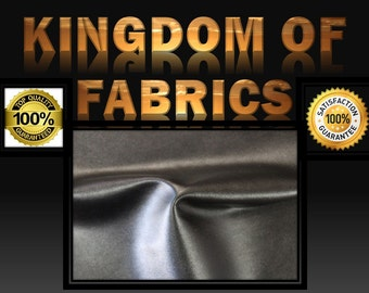 2-Way Stretch Faux Leather Fabric Black. Sold by the yard.