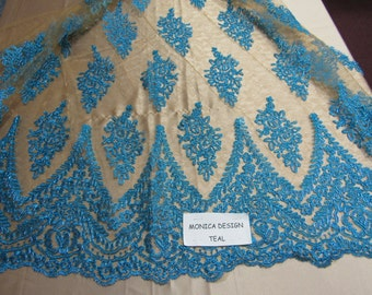 Magnificent French design bridal wedding embroider fabric mesh lace teal. Sold by yard.