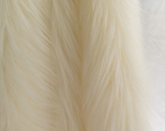 Kingdom of Fabrics Faux/Fake Fur Shag Ivory 58 Inch Fabric by the Yard - 1 Yard