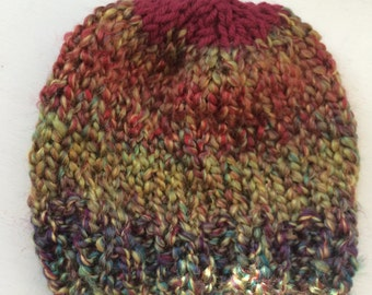 Hand Knit Multi Colored Baby Hat