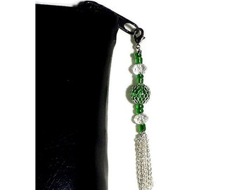 Green Bead Zipper Pull With Silver Chain Tassel, Zipper Charm, Bible Case Decoration, Purse Embellishment, Clutch Adornment, Bag Bling