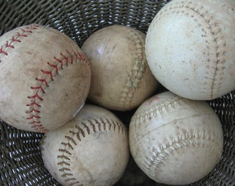 Vintage Collection of Used Leather Softballs Lot of 5 Practice Softballs