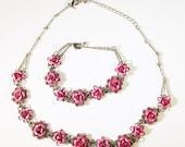 Vintage 1970s Signed Avon Pink Rhinestone Rose Necklace and Bracelet Set