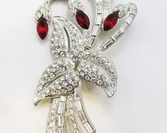 Gorgeous Vintage 1930s Pot Metal Art Deco Floral Ruby Red and Clear Rhinestone Pin
