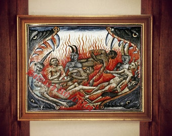 Hell print, devil illustration, demon poster, witchcraft, sorcery, apprentice of Satan occult home decor, medieval painting, magick #307