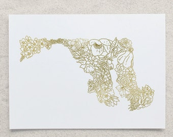 Botanical Maryland Foil Print