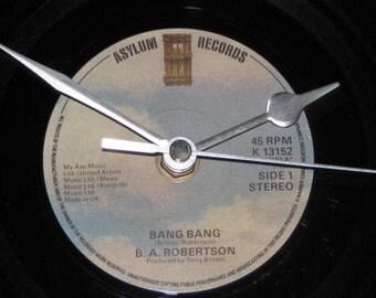 """B.A.Robertson bang bang  7"""" vinyl record clock"""