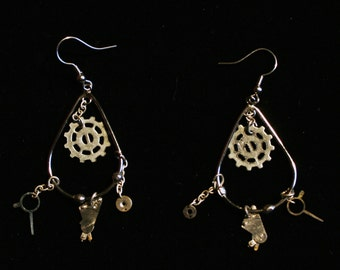 Steampunk Gearpunk Earrings ~ Antique Silver Tone ~ Clockworks Teardrop Loop ~ Dangle Loop ~ Reclaimed Recycled ~ Clock Gears