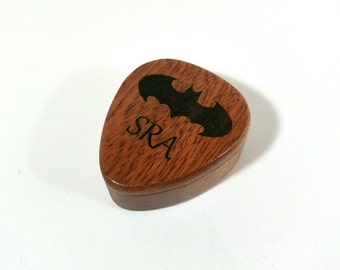Personalized engraved Batman Guitar Pick box, Batman Logo guitar pick box,gift for musician, musical gift, stocking stuffer, Batman plectrum