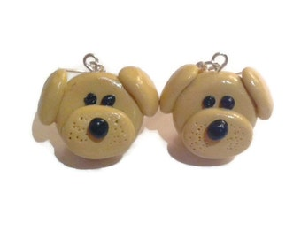 Dog Earrings, dog jewellery, Animal earrings, Puppy earrings, Beige dog jewelry, Golden retriever earrings
