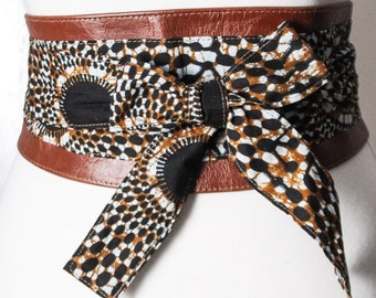 Dark Tan Leather Vlisco Wax Print corset Obi Belt | African Print Waist Belt | Leather Ankara Obi Belt | Plus Size Belt