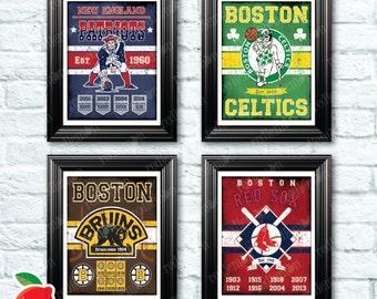 Set of 4 Vintage Style Boston Sports Themed Art Prints
