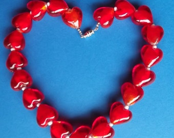 Red Hearts Necklace is Large Red Hearts Necklace is 4th of July Necklace