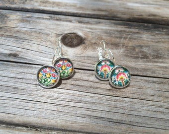 Spring Floral Earrings, floral Earrings, Leverback Earrings, Set of 2 earrings, cabochon earrings