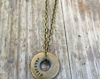 Discover charm on a Bronze Plated Necklace 18 inches, Adventure necklace, travel necklace