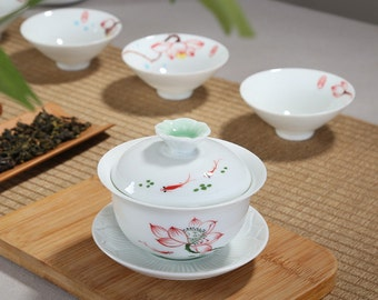 Dehua Porcelain White Ceramic Gaiwan Teacup 160cc