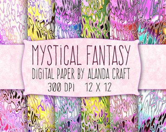 Digital Paper - Mystical Fantasy Backgrounds - 6 Assorted Colors - For Personal & Commercial Use