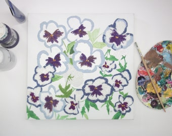 Pansy gifts - textile art - modern textile art - beaded embroidery picture - mixed media canvas - flower pansy - floral art square