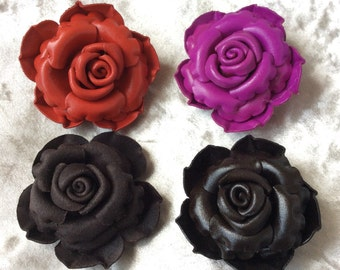 4 x Hand-Made Genuine Leather VintageRose Flower Brooches/pins Accessories