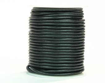 Black Round Leather Cord Lace 3mm x 25m. (3/25in x 82ft)