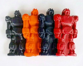 Robot Crayons, Transforming Robot, Jumbo Crayons, Recycled Crayons, Robot Party, Party Favors, Boys Gift, Chunky Crayons, Set Of 4, Birthday