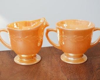Vintage Fire King Peach Lustre Cream and Sugar Set - Laurel Leaves pattern