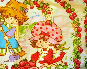 Vintage sheet set, 80s Strawberry Shortcake, Set of Twin size sheets, flat and fitted set of 2 with Huckleberry Finn