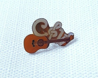 Cute Vintage 80s Country and Western Music Guitar Enamel Pin