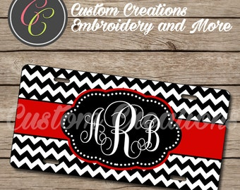 Red Black Chevron Monogram License Plate, Frame, and Seat Belt Cover