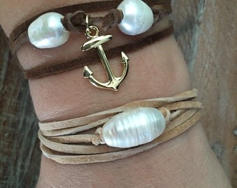 Pearl leather wrap bracelet two different styles