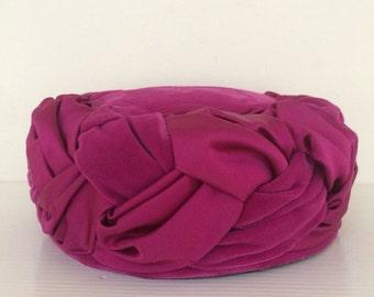 Fuschia Velvet and Satin Braided Pillbox Hat